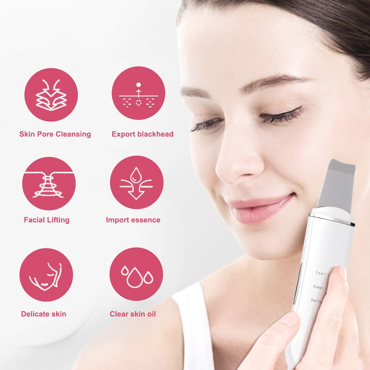 Facial Skin Scrubber, Face Spatula Portable Pores Cleanser Blackhead Remover Comedone Extractor Skin Exfoliator and Facial Lifting Tool, Portable Rechargeable.