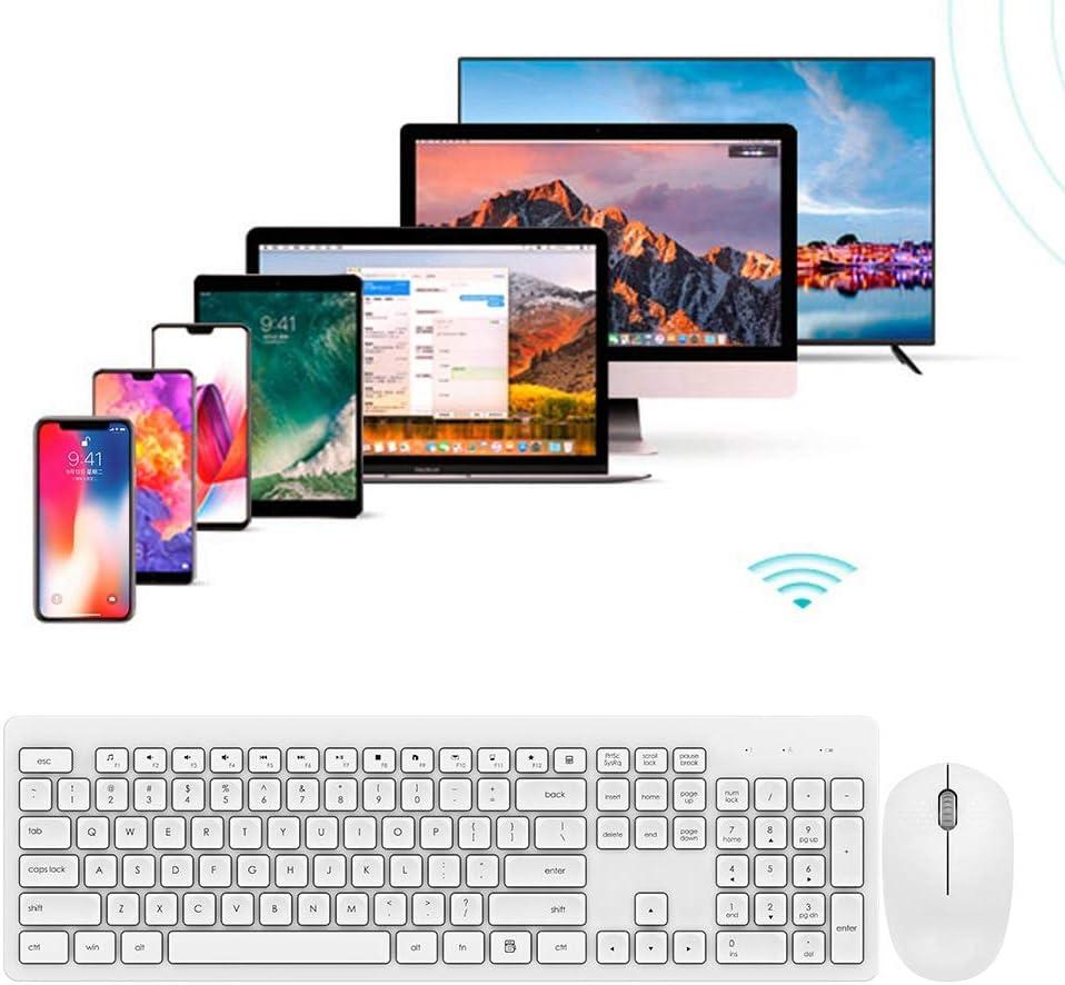 Kafuty Teclado IK7300, Teclado inalámbrico de Teclas de Arco 2.4G, 104 Teclas y Conjunto de Mouse de microinterruptor Mute Multimedia para Windows/Mac(Blanco)
