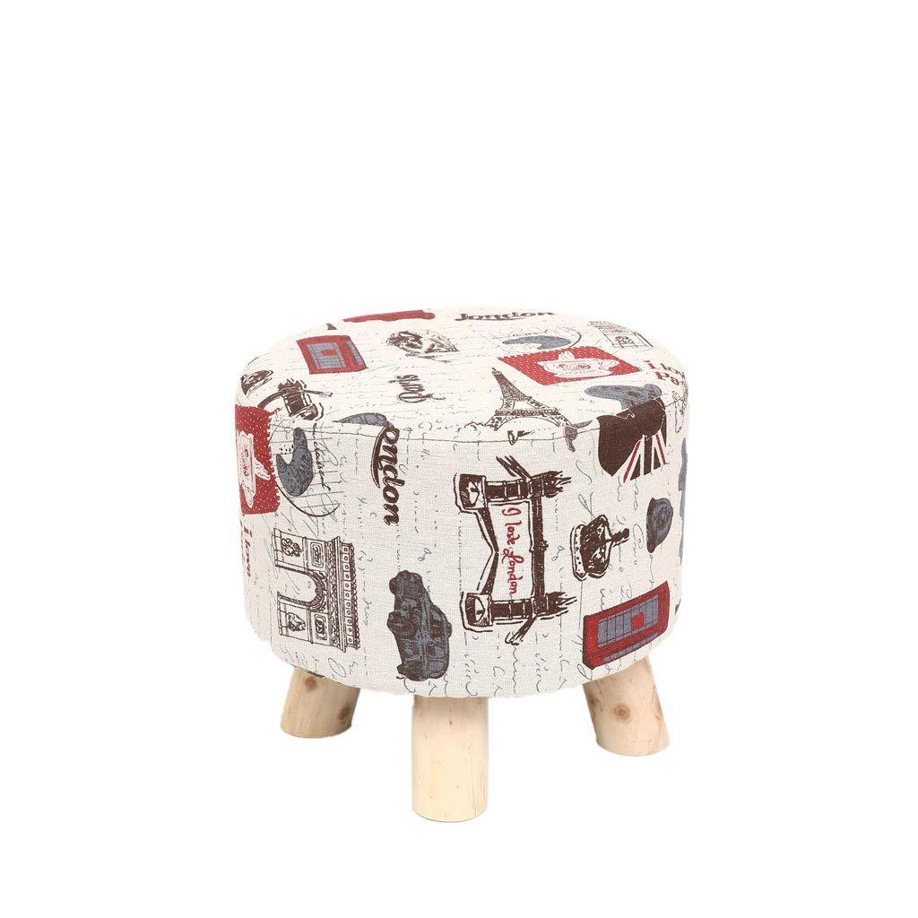 Taburete QFQ Multifuncional Simple de Moda Tela de Simple Madera Maciza pequeño Redondo pequeño Hogar Banco pequeño (Color : A, Tamaño : 28  28  26cm) 6f876f