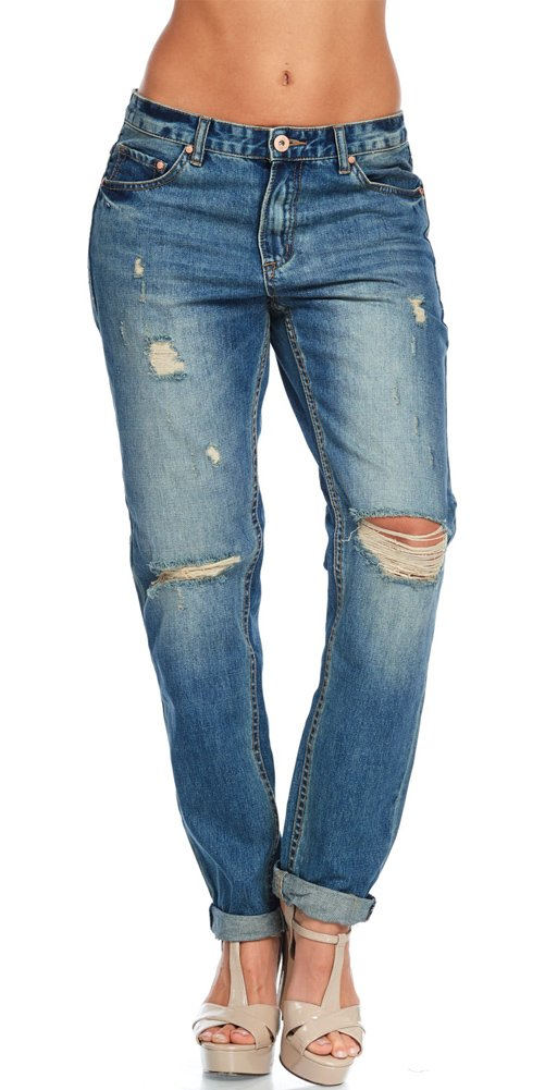 TwiinSisters Women's 100% Cotton Washed Distressed Boyfriend Jeans (Large, Vintage)