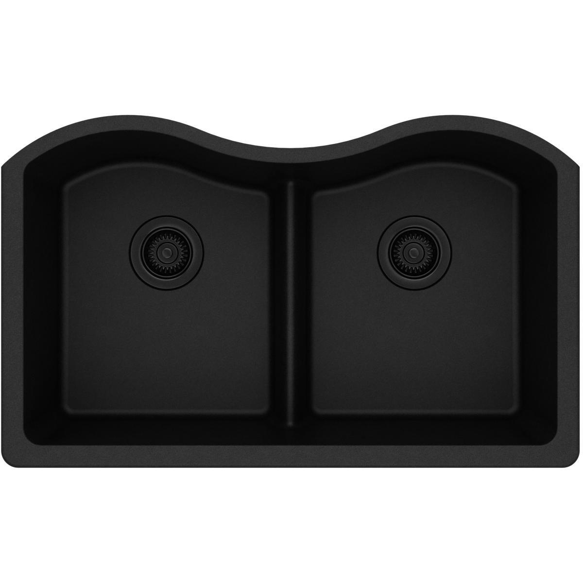Elkay ELGULB3322BK0 Quartz Classic Equal Double Bowl Undermount Sink with Aqua Divide, Black