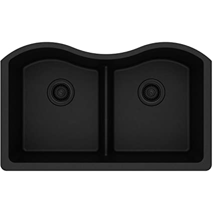 Elkay Quartz Classic ELGULB3322BK0 Black Equal Double Bowl Undermount Sink  With Aqua Divide