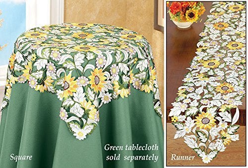 Embroidered Floral Sunflower Table Linens Square