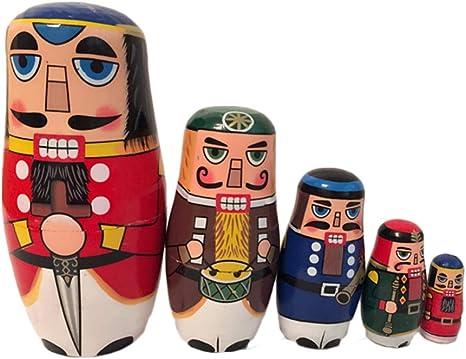 Christmas Russian Wooden Nesting Dolls Nutcracker Soldier Matryoshka Toys