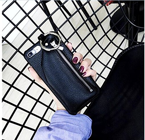 Women Pattern PU Leather Zipper Wallet Phone Case w/ Chain Ring for iPhone 7G Capas for iPhone 7/ 7S 4.7'', Back Cover Smartphone w/ Card Cash Coin Bag (black-for iphone 7/7s 4.7inch) by lazynice