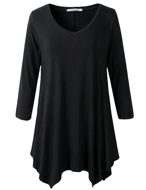 e0f9df463a0 JollieLovin Womens Plus Size 3/4 Sleeve Loose-fit T Shirt for Leggings Tunic