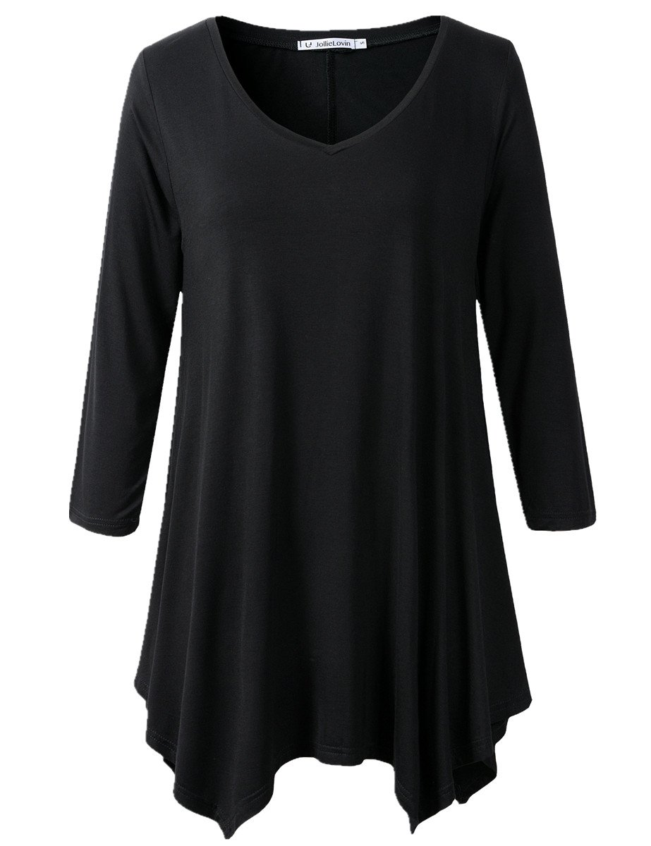 JollieLovin Womens Plus Size 3/4 Sleeve Loose-fit T Shirt for Leggings Tunic Top (3X, A Black)