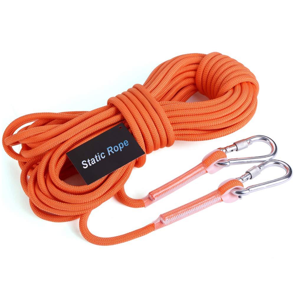 Orange AMCER Extérieure Alpinisme Sauvetage Corde 8mmx30m, Bleu Fibre de Polypropylène Corde Auxiliaire avec 2 Mousquetons, pour Sport Escalade Alpinisme Grimpe Descente 8mmx20m