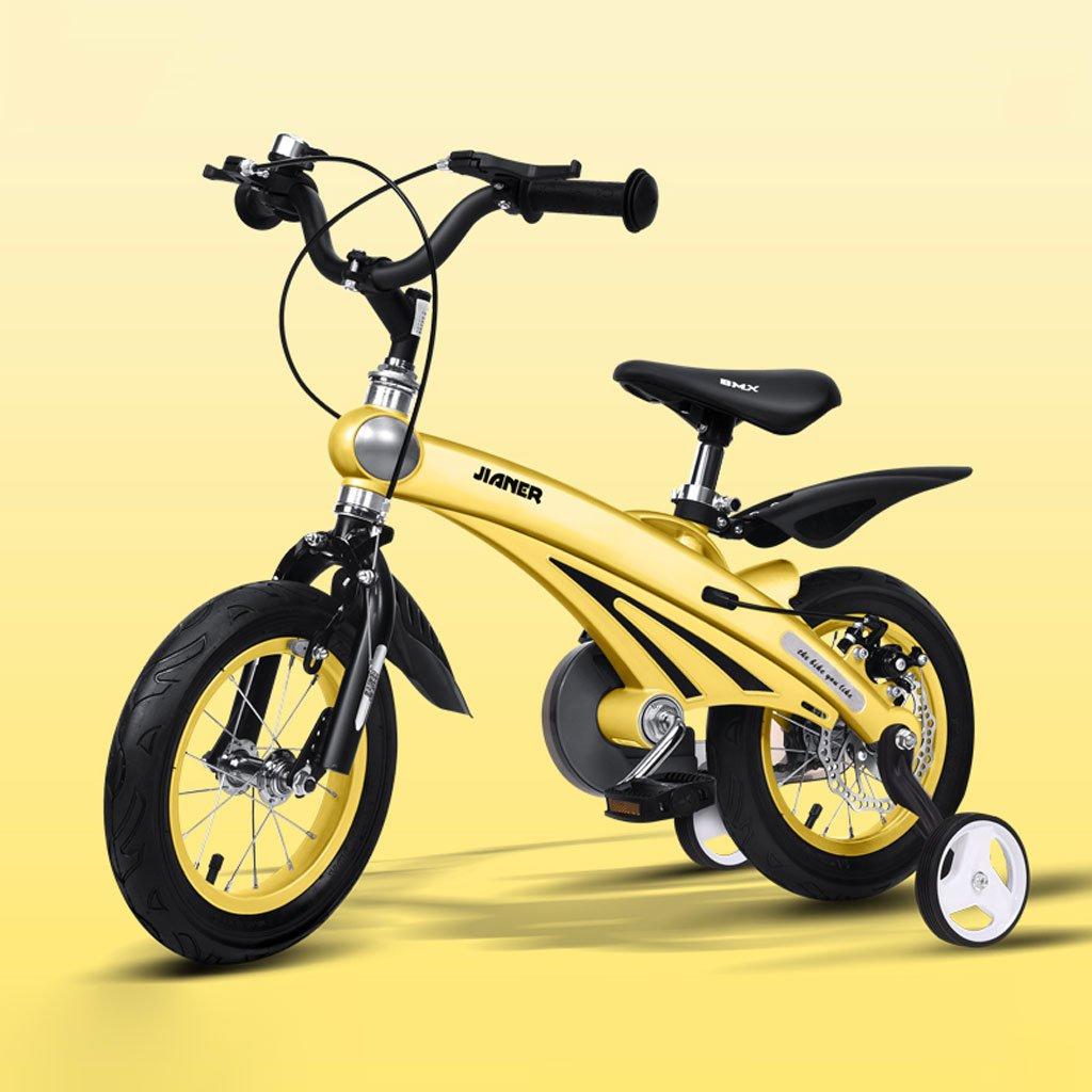 Fenfen子供の自転車マグネシウム合金ベビーBike 2 – 4 Years赤ちゃん車12インチ子供用自転車、シャンパンゴールド/ピンク/イエロー/ブルー B07CVBTYXX  イエロー