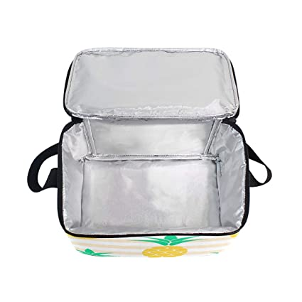 faa83e9bab5f Amazon.com: Pink Striped Yellow Pineapple Adult Lunch Box Lunch ...
