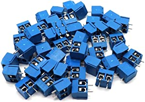 Xiaoyztan 2 Pin 5mm Pitch PCB Mount Screw Terminal Block Connectors, Pack of 50 Pcs