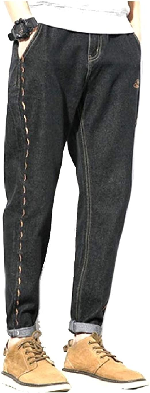 Candiyer Mens Rolled Cuff Loose Jeans Denim Slim-Tapered Tenths Pants