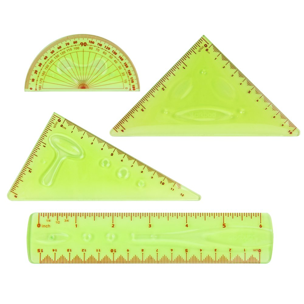 Larkpad Soft Plastic Combo Rulers 6-Inch, 180 Degree Protractor, 2 Triangle, 4 in 1 Pack Flexible Rulers, Inches and Metric for Office or School, Green