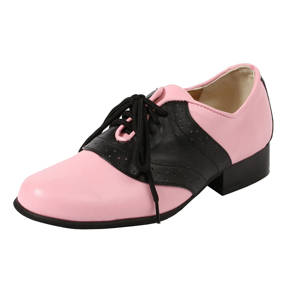 Women's Oxford Saddle Shoes 1 inch Heel Lace up with Twotone Pink Black Size: 10
