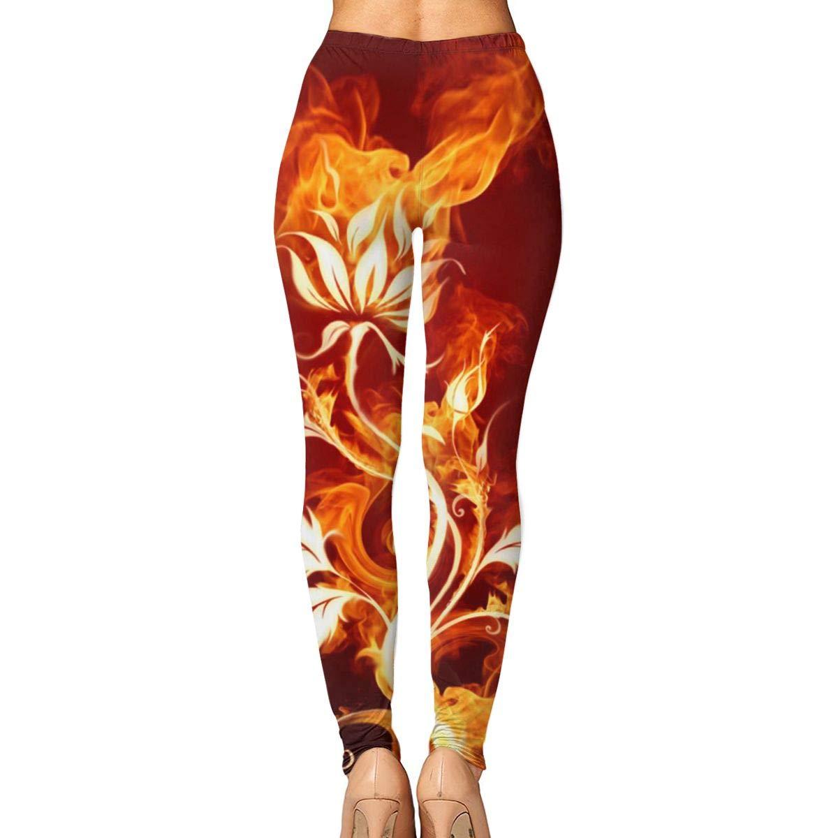 55104361763c8e Amazon.com: GoldK Women's Flame Rose Yoga Pants Capri Leggings High Waist  Tights Skinny Pants: Clothing