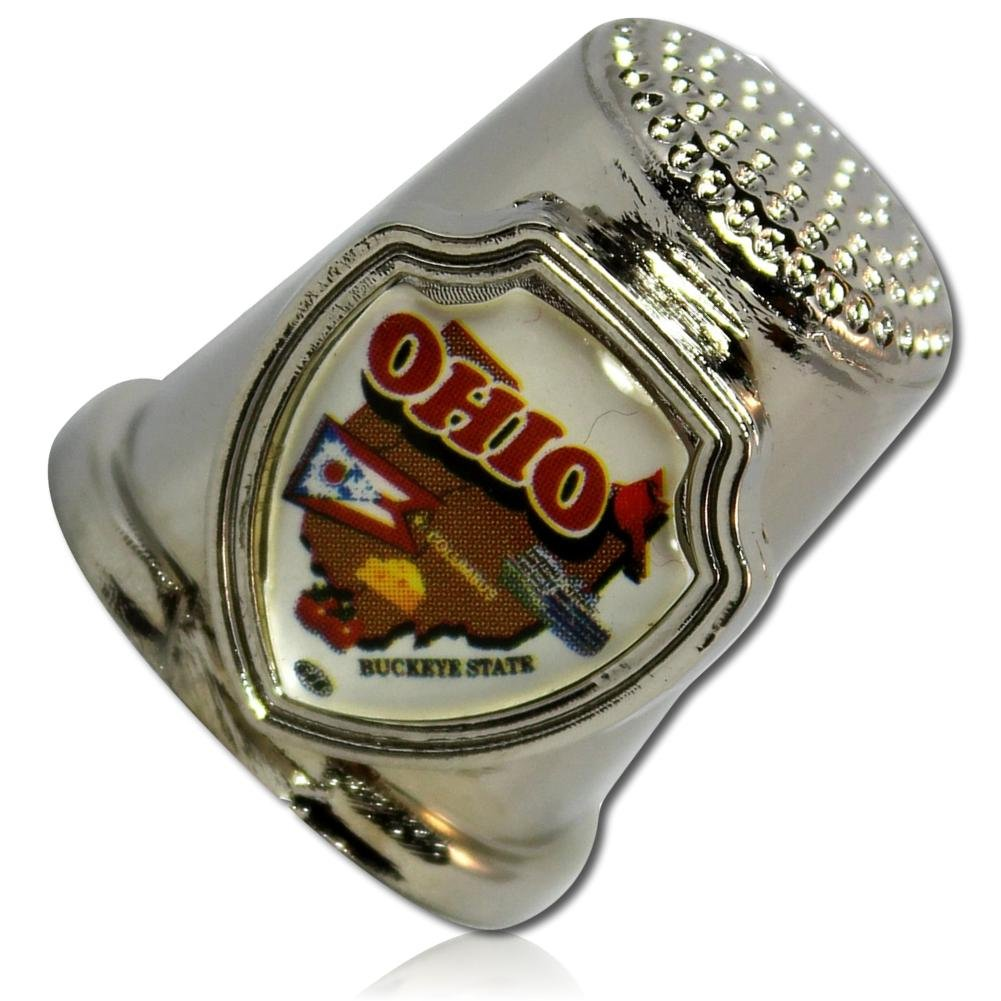 Custom & Collectable {25mm Hgt.x 25mm Dia} 1 Single, XL-Size Sewing Thimble Made of Fine-Grade Metal w/ Ohio ''The Buckeye State'' Map Print Flag Cheese Tomatoes Cardinal [Silver, White, Brown, & Red] by mySimple Products