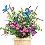 Butterfly Artificial Flower Arrangement Bouquet Bush - Set Of 3       DescriptionBeautiful faux floral bushes are accented with stunning butterflies for a bright and colorful display. Pink and purple blossoms, lush greenery and colorfu...