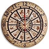 Zodiac Signs Handcrafted wooden wall clock, astronomical,vintage, housewarming, one-of-a-kind, gift, San Marco, Venice, Itali, Gold Black