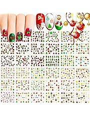 EBANKU 6 vellen Kerstnagelstickers 3D zelfklevende nagelkunststickers, Kerstman Sneeuwpopboom Elanden Nagelstickers Kerst Nagelkunstdecoratie voor vrouwen Meisjes Kinderen
