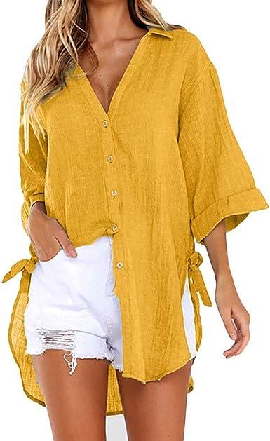 Blusas para Mujer, Moda Color SóLido Manga Larga Camisas con Botones Casual TúNica Top De Solapa Dama Blouse con Cuello En V Slim Fit Camiseta De Manga Larga Camisa De Playa: Amazon.es: