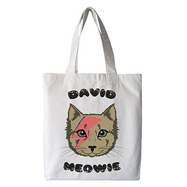 85c2c83f7a1 David Meowie Cotton Tote Shopper, White (One Size, White): Amazon.co.uk:  Clothing
