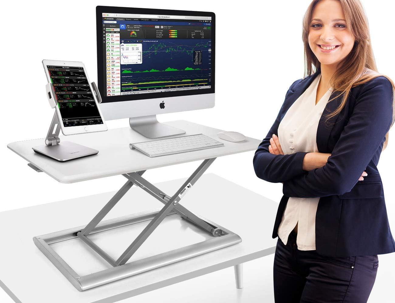 AboveTEK Compact Solid Aluminum Computer Riser White Adjustable Standing Desk Converter 30 Desktop Platform w//Smooth Air Assist at Home Office