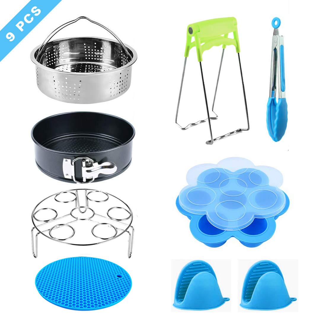 Accessories Set Compatible with Instant Pot 5,6,8 QT Pressure Cook with Steamer Basket,Egg Steamer Rack,Non-stick Springform Pan,Egg Bites Molds,Kitchen Tongs, Pinch Mitts and Potholder Mat (8 Pcs)