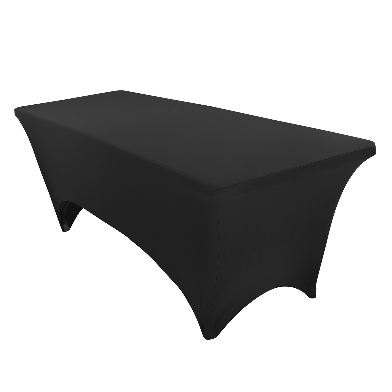 VEEYOO 6 Feet Rectangular Polyester/Spandex Stretch Table Cover Tight Fitted Tablecloth for Wedding Party Banquet Trade Show, Black