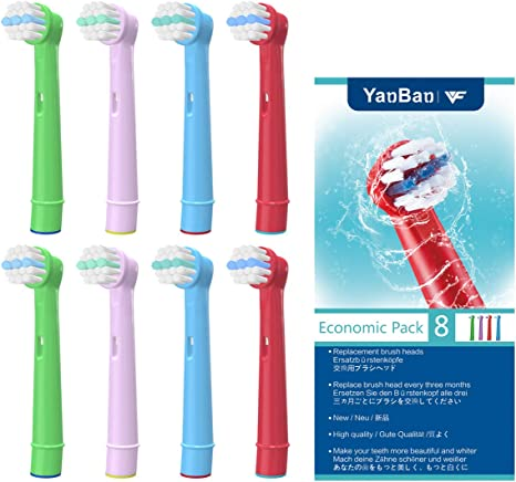 WuYan Kids' Toothbrush Head for Oral B, Children Electric Tooth Brush Heads Compatible for Braun, Replacement Brush Heads Compatible for Dual Clean,