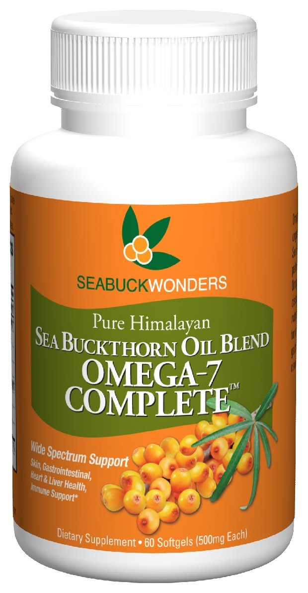 SeabuckWonders Organic Sea Buckthorn Oil Blend, Omega-7 Complete, 60 Count Softgels