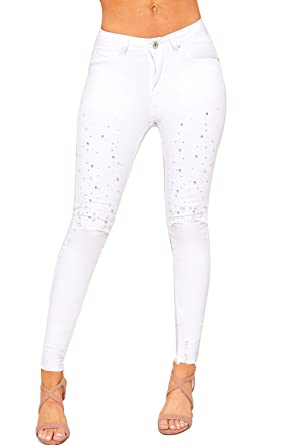 f3690b1c67c WearAll Women s Pearl Jewel Embellished Ripped Distressed Skinny Jeans  Ladies Trousers - White - 6