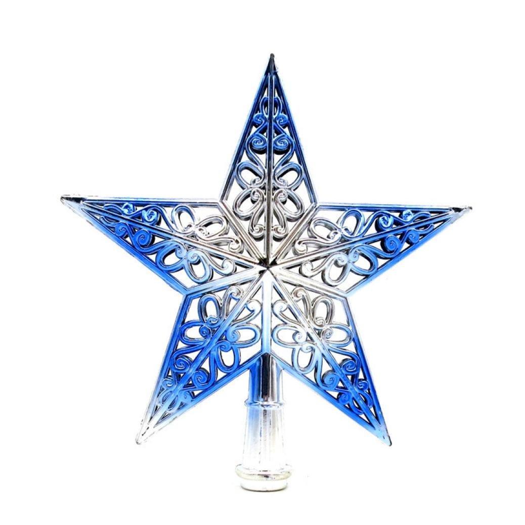 Iuhan Christmas Tree Top Sparkle Stars Hang Xmas Decoration Ornament Treetop Topper (Blue)