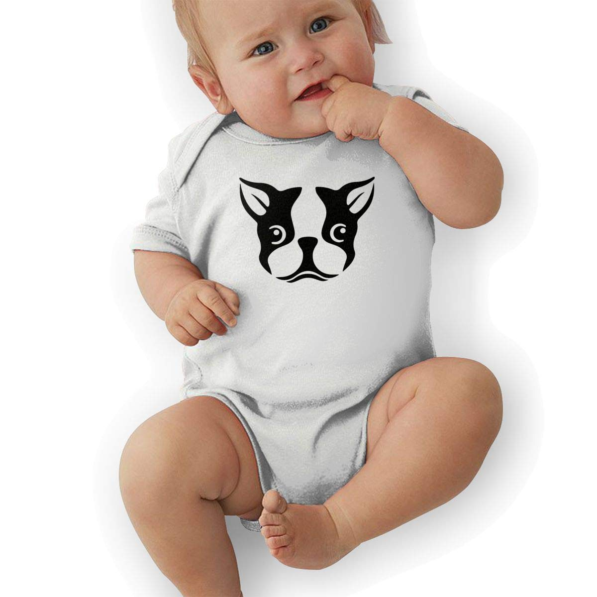 Soft Boston Terrier Face Crawler U88oi-8 Short Sleeve Cotton Rompers for Baby Boys and Girls