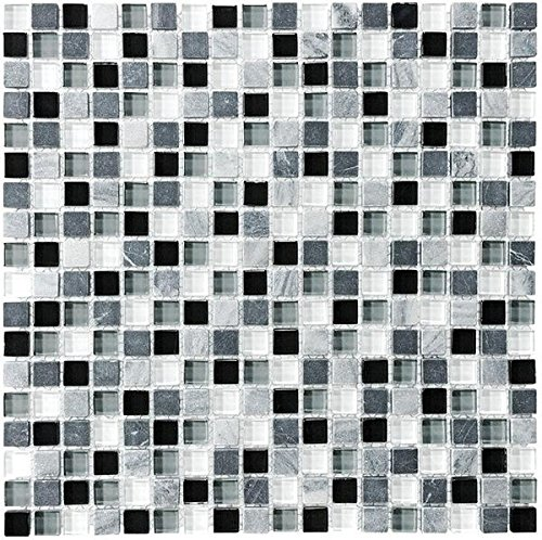 10 Square Feet - Bliss Midnight Stone and Glass 5/8 x 5/8 Square Mosaic Tiles - Bathroom Walls/Tub Surround/Kitchen Backsplash by Rocky Point Tile