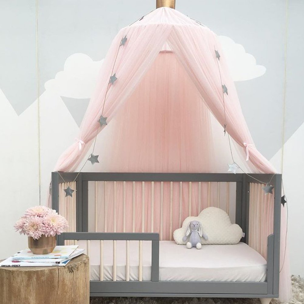 Mosquito Net for Kids Room, FOME Upgraded Version Ten Layers Princess Bed Canopy Yarn Play Tent Round Dome Tent Canopy Bed Net Play Tent Bedding for Kids Playing Games House with Gift Star Garland
