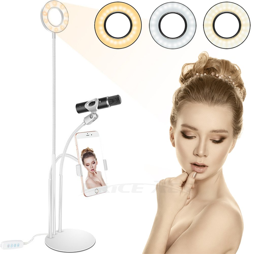 Selfie LED Ring Light w/Cell Phone Holder for Live Stream, 360 degree Long Arm Clip-On Table Holder Fill-In Light Dimmable 3-Light Mode, Lazy Bracket Desk Lamp for Youtube Facebook(Black#) Price Xes