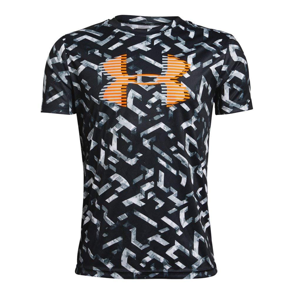 Under Armour Boys' Tech Big Logo Printed T-Shirt, Black (003)/Orange Glitch, Youth X-Small