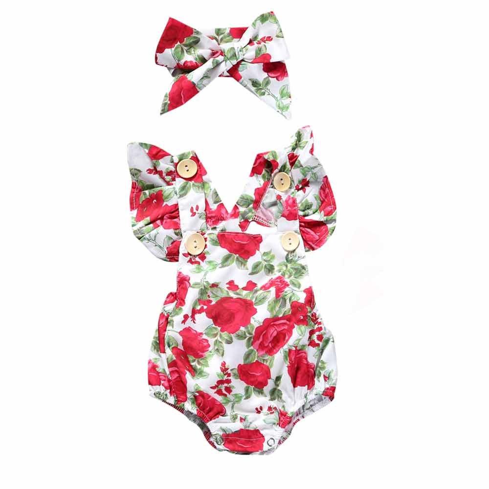 Summer Baby Girl 2Pcs Blue Flower Bodysuit Short Sleeve Romper+Headband Outfit Mary ye