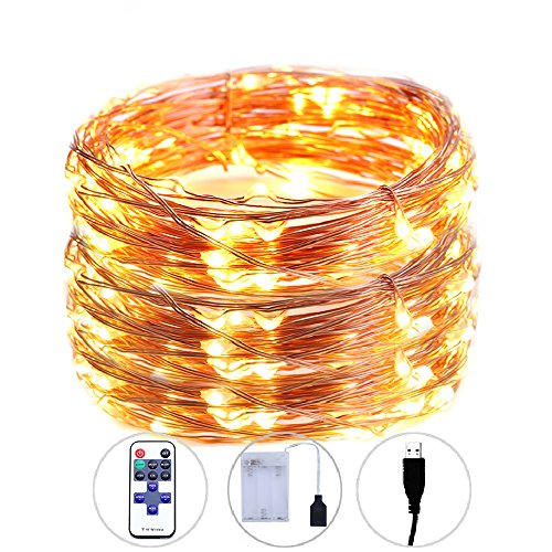 legelite LED Fairy Light with USB and Battery Case, RF Control Outdoor Led String Lights 33ft 100 Led for Bedroom, Patio, Garden, Gate, Yard, Parties, Wedding (Warm White)]()
