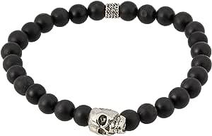Mousse Caramel Men's Matte Black Onyx with Rhodium Plated Skull Bracelet