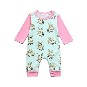 Bebé Pelele Mono, sukeq bebé recién nacido bebé colorido conejo de Pascua Conejo ropa manga larga Romper mono, 02.5M US, Verde: Amazon.es: Deportes y aire ...