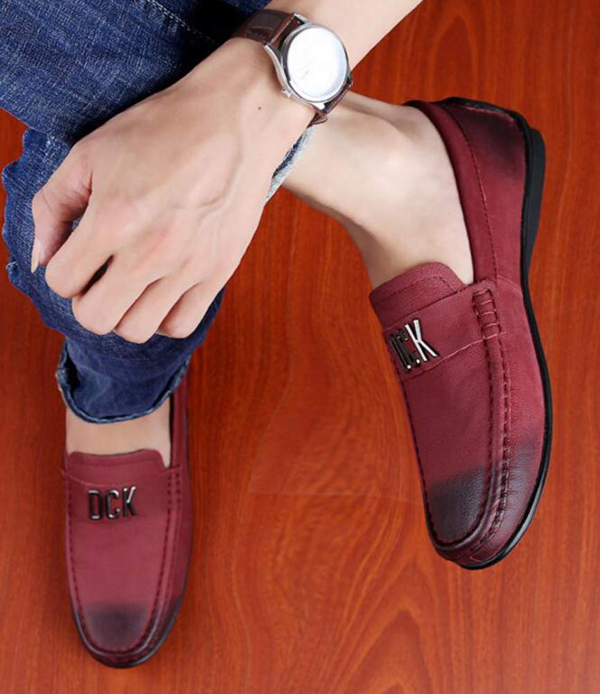 Hy Herrenschuhe, Feder- Herbst-Formal Business Schuhe, Soft Sole Driving Flat Slip-Ons Driving Sole schuhe, Loafers & Slip-Ons Lazy Schuhe Radschuhe,Winerot,41 acf57b
