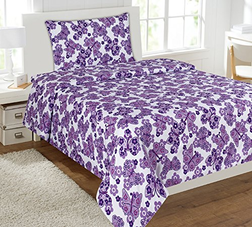 Twin Size Mk Collection 3pc Sheet Set Purple White Butterfly