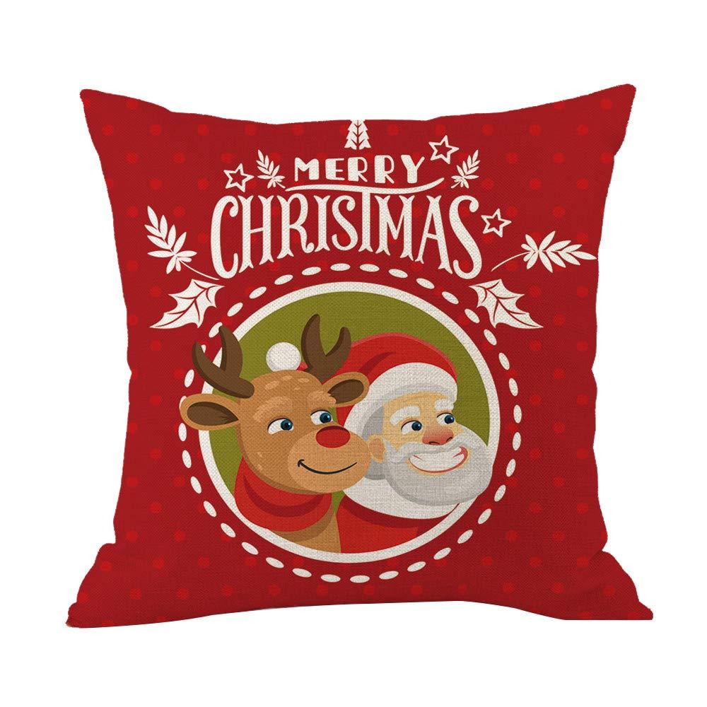 LILICAT Joyeux Noël Throw Taie d'oreiller Cafe Sofa Coussin Housse Décor À La Maison Coton Lin Carré Taie d'oreiller