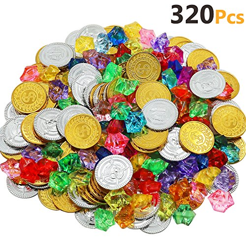 HEHALI 320 Pieces Pirate Toys Gold Coins and Pirate Gems Jewelery Playset, Treasure for Pirate Party (160 Coins+160 Gems) (Gold) (Candy Gold Coins)