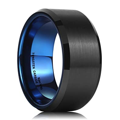 King Will 10mm Black And Blue Tungsten Carbide Ring Wedding Band For