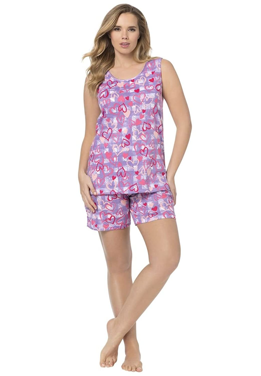 National's cotton-polyester Striped Shortie Pajamas feature button front top and easy on shorts, available in pretty pastel stripes and many sizes/5(54).