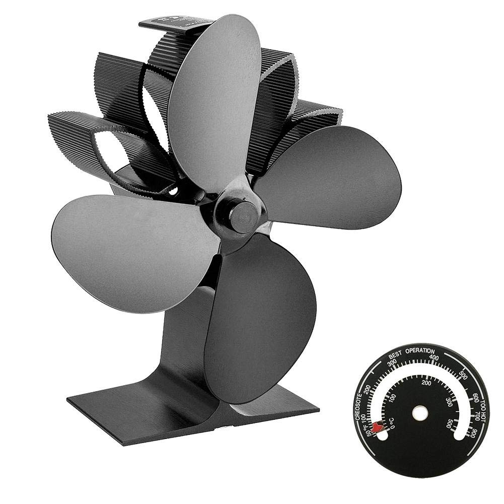boomprospect Fireplace Fans 4 Blade,Fireplaces Heat Powered Stove Fan,High Effictive&Eco-Friendly,Stove Fan for Wood/Log Burner (Black) by boomprospect