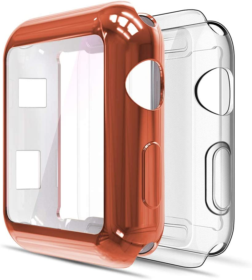 Simpeak Soft Screen Protector Bumper Case Compatible with Apple Watch 42mm Series 3 Series 2, Pack of 2, All Around, Clear+Orange