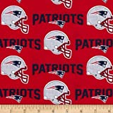 NFL Cotton Broadcloth New England Patriots Red/Navy Fabric By The Yard